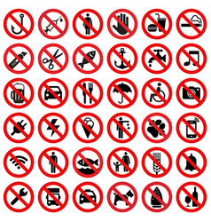set prohibited sign vector image