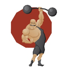 Smiling strong man lift a barbell vector