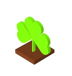 St Patricks day background with clover Isometric vector image