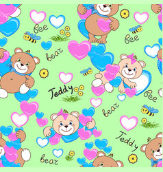 Teddy bears seamless pattern vector