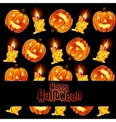 Texture of the candles and lamps pumpkin with text vector image
