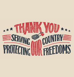 Thank you veterans hand-lettering card vector