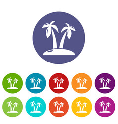 tropical island icons set color vector image