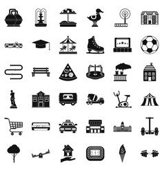 Urban icons set simple style vector