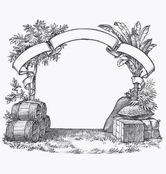 Vintage barrel engraving ephemeral vector