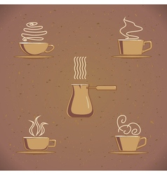 Vintage coffe cup set vector image