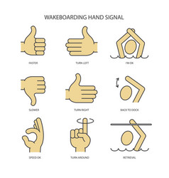 Wakeboarding hand signal vector