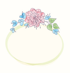 Watercolor round flower frame hand drawn floral vector