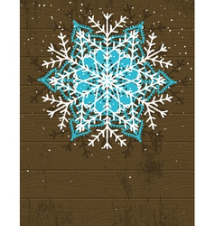 wooden christmas card with snowflake vector image