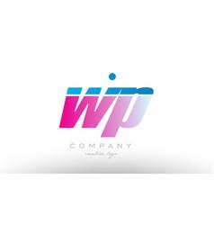 Wp w p alphabet letter combination pink blue bold vector