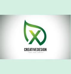 x leaf logo letter design with green leaf outline vector image