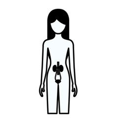 black silhouette thick contour of female person vector image