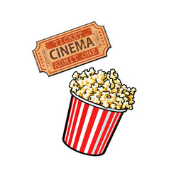 cinema objects - popcorn bucket and retro style vector image