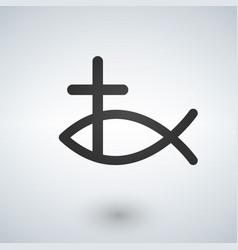jesus fish and cross icon vector image