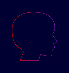 people head sign line icon with gradient vector image