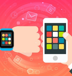 Smart Watch and Smartphone Synchro concept vector image vector image