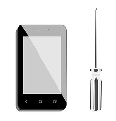 Smartphone and screwdriver vector image vector image
