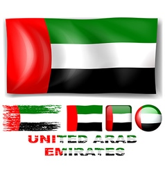 United Arab Emirates flag in different designs vector image vector image