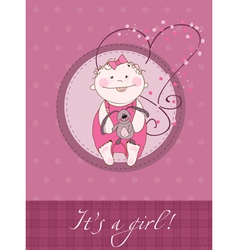 baby girl shower card vector image vector image