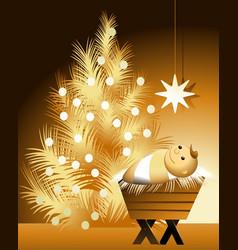 Christmas scene with baby Jesus vector image vector image