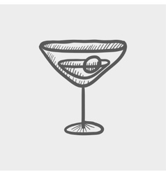 Cocktail drink with cherry sketch icon vector image