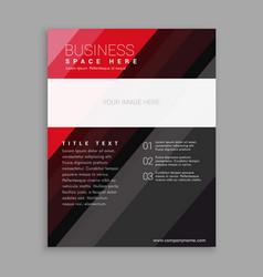 elegant red and black business flyer brochure vector image vector image