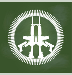 Gun and bullet in peace symbol on green board - vector
