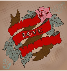 Old-school style tattoo card with flowers and vector image vector image