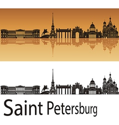 Saint Petersburg skyline in orange background vector image
