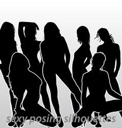 Sexy posing silhouettes vector