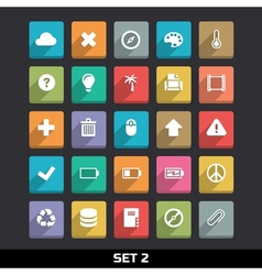 Trendy Icons With Long Shadow Set 2 vector image