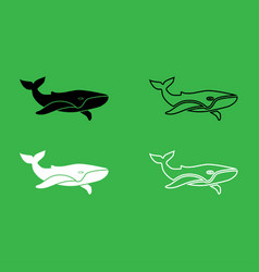 whale icon black and white color set vector image vector image
