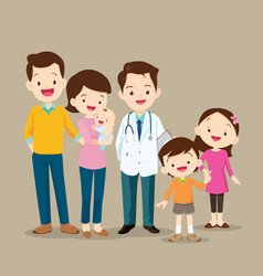 cute family with baby and doctor vector image