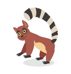 cute lemur cartoon icon in flat design vector image vector image