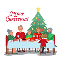 family christmas dinner with grandparents vector image