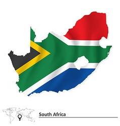 Map of South Africa with flag vector image