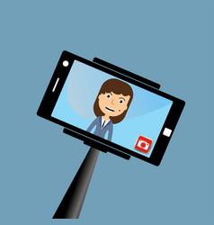 monopod selfie woman self portrait tool for vector image vector image