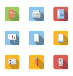 Office icons set flat style vector image