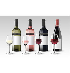 realistic wine collection vector image
