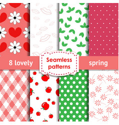Set of romantic chic seamless patterns vector image vector image