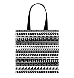Shopping bag with ornaments for your design vector image vector image