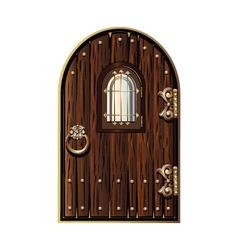 wooden door with window vector image vector image
