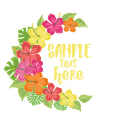 background with tropical flowers vector image