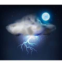 Dark Cloud with Rain and Lightning vector image