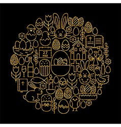 Gold and Black Happy Easter Line Icons Set Circle vector image vector image