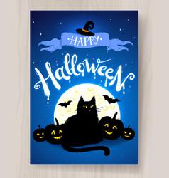 happy halloween postcard design vector image