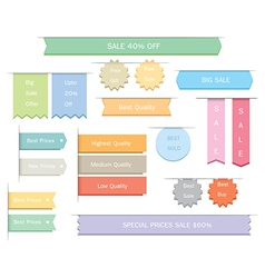 Ribbons label stickers vector image