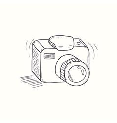 Sketched digital camera desktop icon vector image vector image