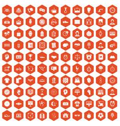 100 clock icons hexagon orange vector