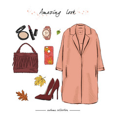 A set of autumn outfit with accessoriesa stylish vector